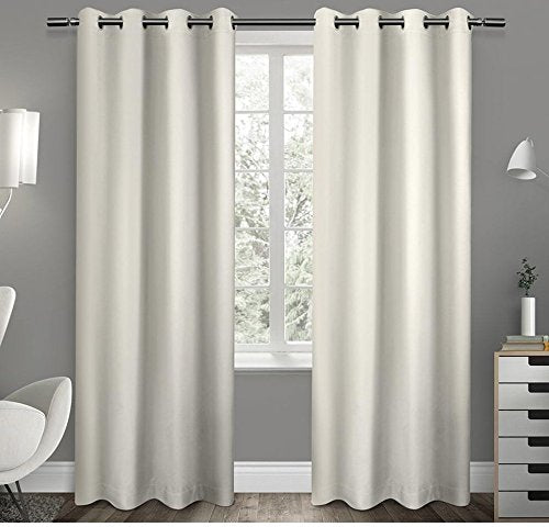 63 Inch Girls Vanilla Solid Color Blackout Curtains Panel Pair White