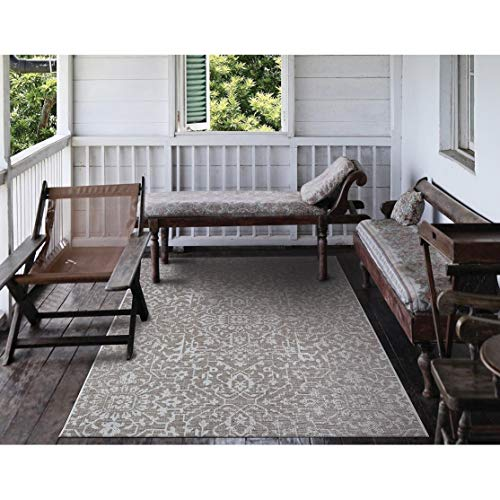 "Medallion Mushroom Ivory Indoor/Outdoor Area Rug 3'9"" X 5'5"" Brown Ivory Floral Botanical Casual Rectangle Polypropylene Contains Latex"