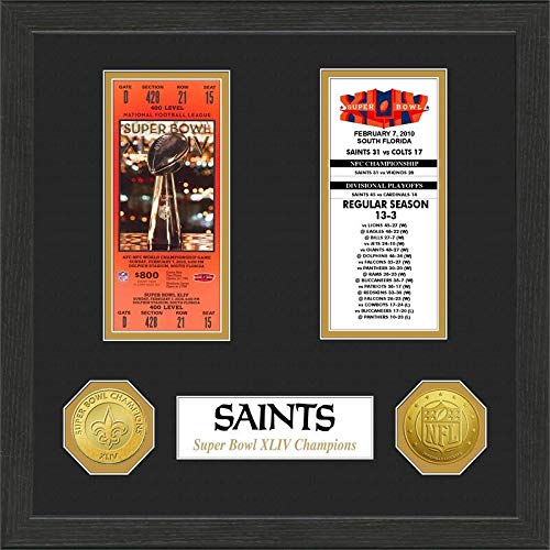 NFL New Orleans Saints Replica Ticket Game Coin Frame Football Themed Sports Pattern Game Coin Team Logo Merchandise Fan Athletics Team Spirit Fan