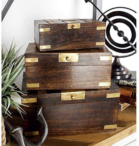 Boxes Brass Inlay (Set 3) Black Brown Gold Vintage Metal Wood