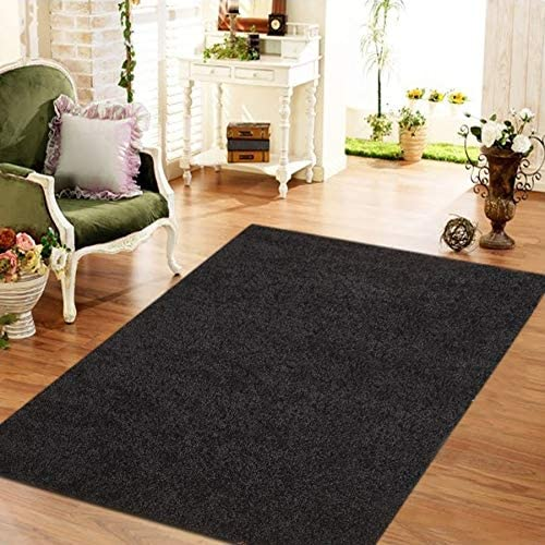Moon Solid Shag Modern Plush Black Area Rug 5 Ft 7 5' X 7' Polypropylene Latex Free