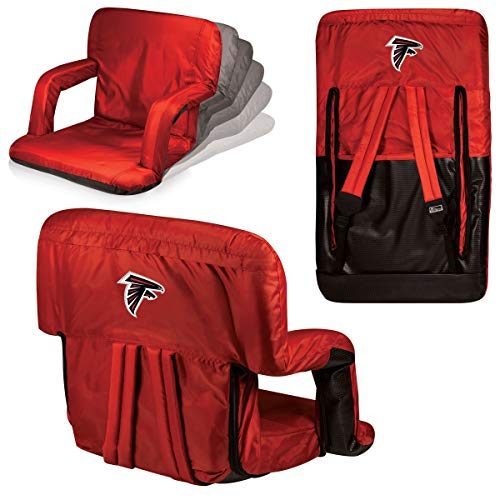 MISC Red NFL Atlanta Falcons Ventura Seat Football Themed Armrests Adjustable Backpack Straps Seat Beach Pool Picnics Dorm Living Room Team