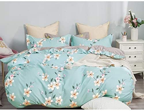 UKN Blue Floral Cotton Duvet Cover Set Designer 3 Piece