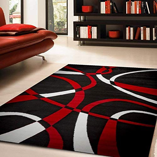 Black/red Door Mat 2 Ft by 3 2' X 3' Black Red Abstract Novelty Modern Contemporary Transitional Rectangle Polypropylene Latex Free