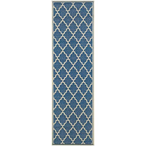 "Indoor/Outdoor Runner Rug 2'3"" X 7'10"" Blue Ivory Geometric Trellis Casual Rectangle Polypropylene Contains Latex Pet Friendly Stain Resistant"