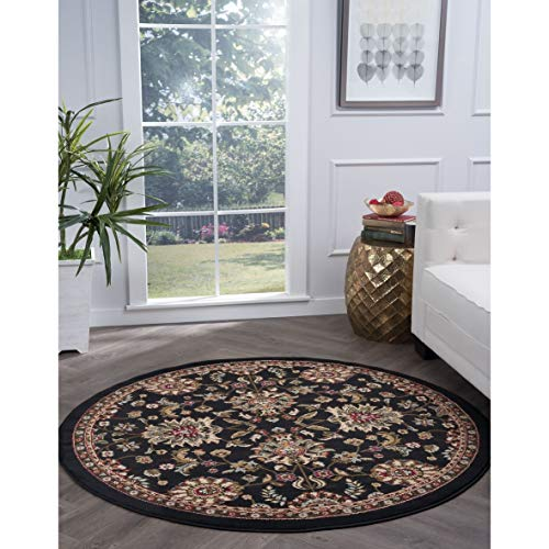 Transitional Oriental Round Area Rug 5'3 X Black Border Vintage Jute Polypropylene Latex Free Pet Friendly Stain Resistant