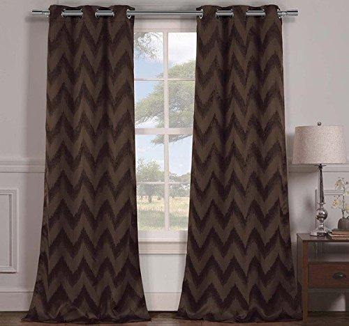 Chocolate Chevron Window Curtain Set 84 Inch Zig Zag Panels Pair V Shaped Pattern Polyester Dark Brown Colour Vibrant Modern Stylish Zigzag Blackout