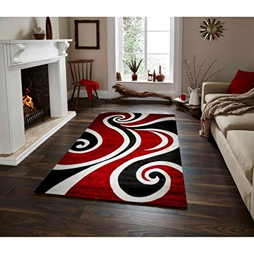 Red/Black/White Area Rug 5 Ft by 7 5' X 7' Black Red Abstract Novelty Modern Contemporary Nautical Coastal Rectangle Polypropylene Latex Free