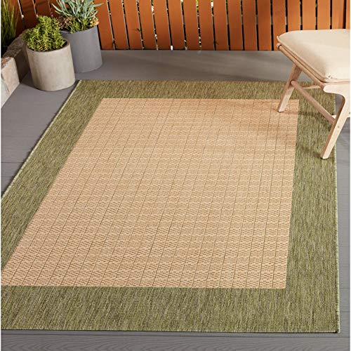 "Quad Natural Green Indoor/Outdoor Area Rug 3'9"" X 5'5"" Beige Green Border Solid Casual Transitional Rectangle Polypropylene Synthetic Contains Latex"