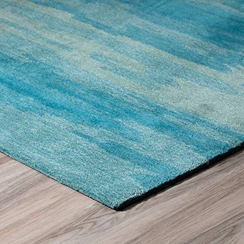 "MISC Abstract Stripes Shades Turquoise Area Rug 3'6""x5'6"" 3'6"" X 5'6"" Blue Casual Polyacrylic Contains Latex Stain Resistant"