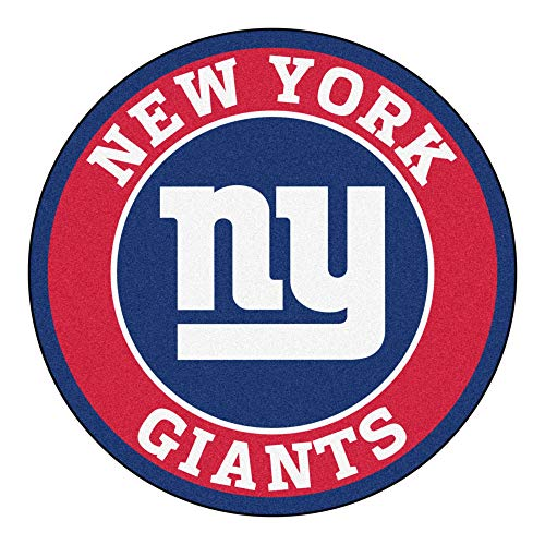 27 Inch NFL New York Giants Mat Team Logo Printed Round Rug Sports Football Themed Floor Mats Carpet Home Office Bedroom Bath Area Rug Team Spirit Fan