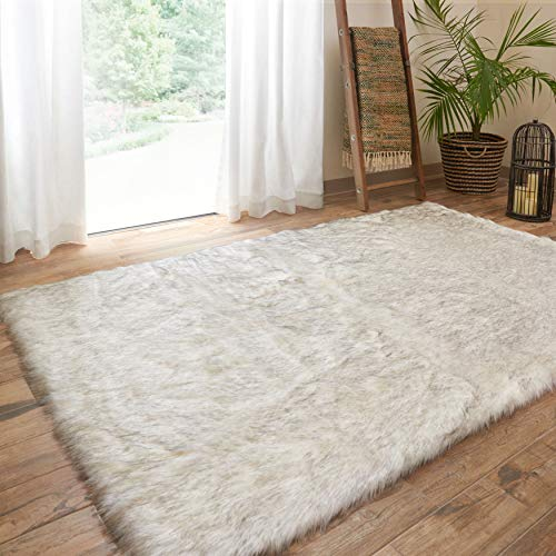 Fur Ivory/Grey Shag Rug 3' X 5' Ivory Animal Solid Glam Rectangle Acrylic Polyester Synthetic Latex Free