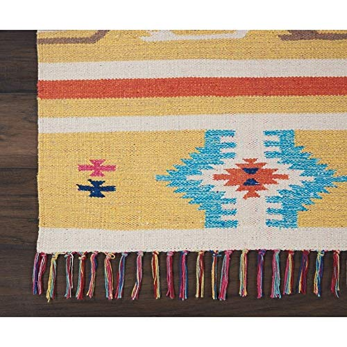 Southwest Baja Ikat Runner Rug Kilim Aztec Moroccan Floor Mat Orange Yellow Stripes Tassels Bohemian Theme Indoor Carpet Eclectic Tribal Medallion