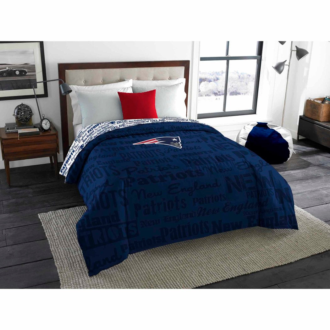 NFL New England Patriots Comforter Twin/Full Sports Patterned Bedding Team Logo Fan Merchandise Team Spirit Football Themed National Football League