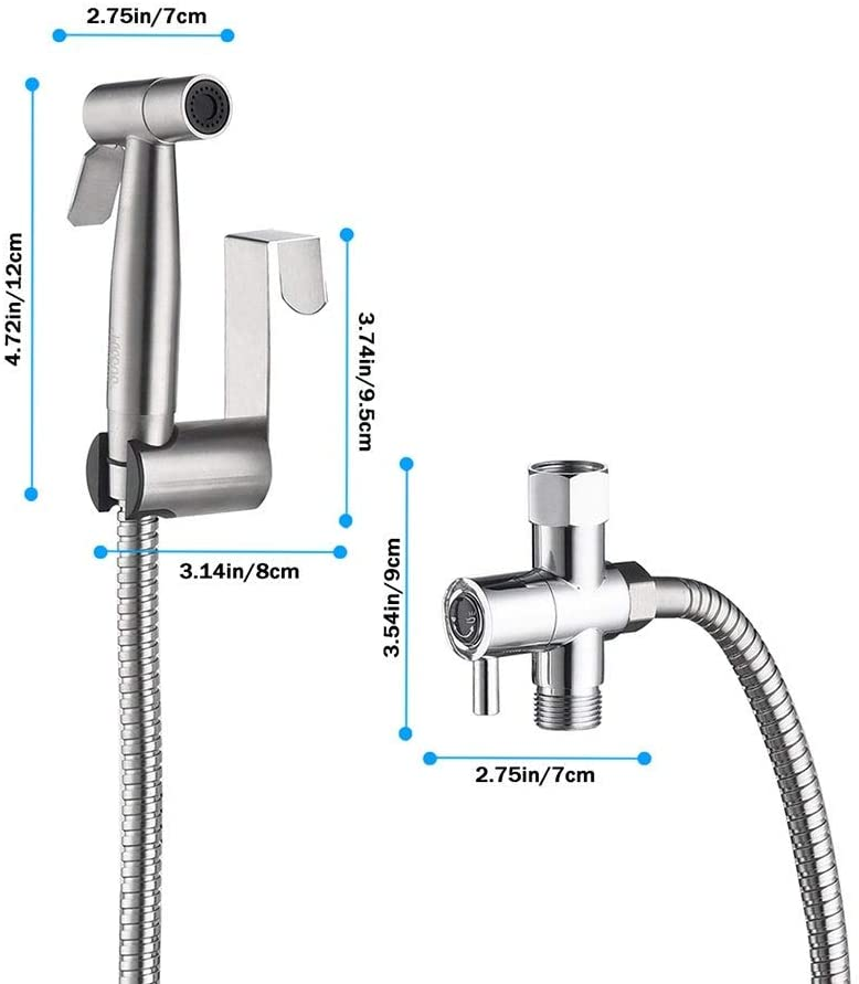 UKN Handheld Bidet Sprayer Bathroom Cloth Diaper Kit 8' X 10' White Modern Contemporary Stainless Steel Finish Ul Listed