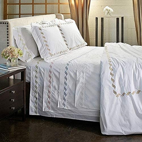 UKN Scroll Embroidery Count Cotton 3 Piece Duvet Cover Set Green Embroidered Casual 3 Piece
