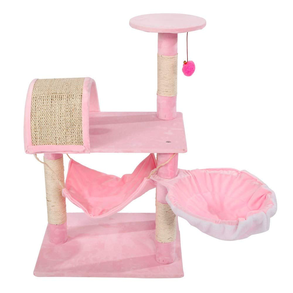 "Pink Cat Playground Small Pet Activity Scratching Post Cats Tower Tree House Condo Interactive 32"" Beige Brown Wood"