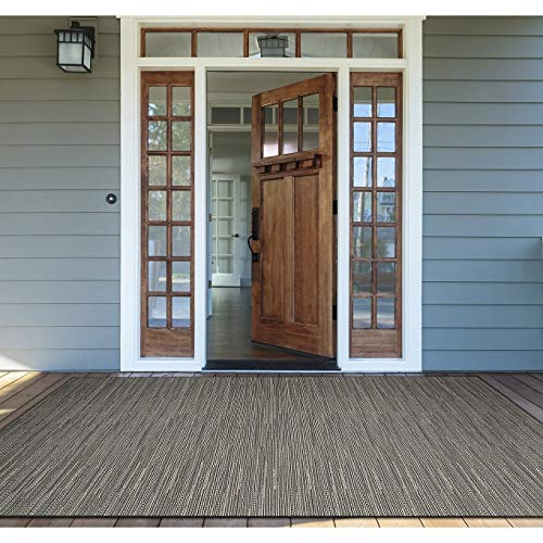 "Grey Indoor/Outdoor Area Rug 5'10"" X 9'2"" Grey Ivory Stripe Casual Rectangle Olefin Polypropylene Synthetic Contains Latex Pet Friendly Stain"