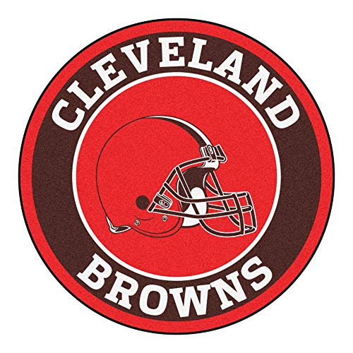 27 Inch NFL Cleveland Browns Mat Team Logo Printed Round Rug Sports Football Themed Floor Mats Carpet Home Office Bedroom Bath Area Rug Team Spirit
