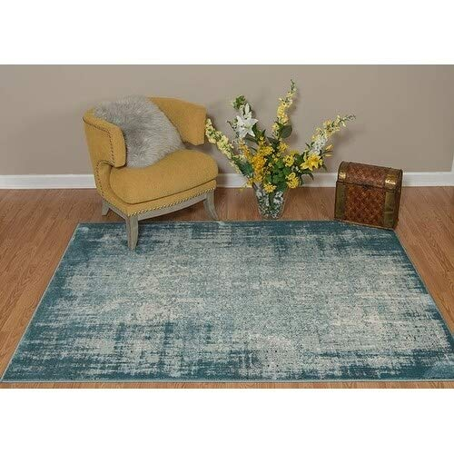 Aqua Runner Rug 1'10 X 7'2 Blue White Transitional Vintage Jute Polyester Polypropylene Contains Latex Stain Resistant