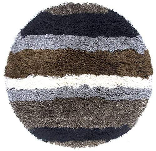 Polyester Hand Tufted Striped Round Area Rug (3') 3' X Brown Grey Stripe Shag Contains Latex Stain Resistant
