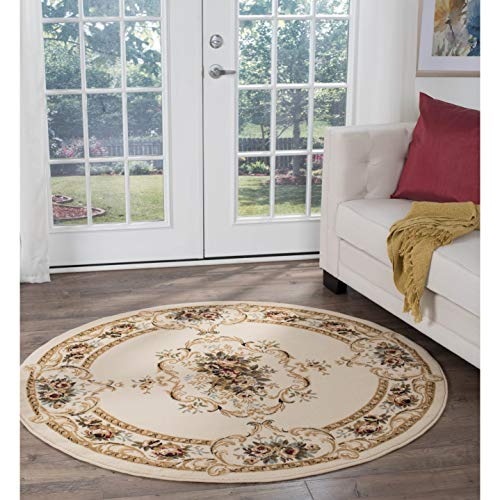 Beige Traditional Area Rug 5'3 Round Brown Border Medallion Country Vintage Jute Polypropylene Latex Free Pet Friendly Stain Resistant