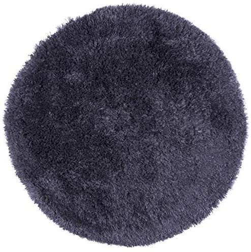 Hand Tufted York Gray Polyester Solid Round Area Rug (3' Round) 3' X Grey Solid Shag Contains Latex Stain Resistant