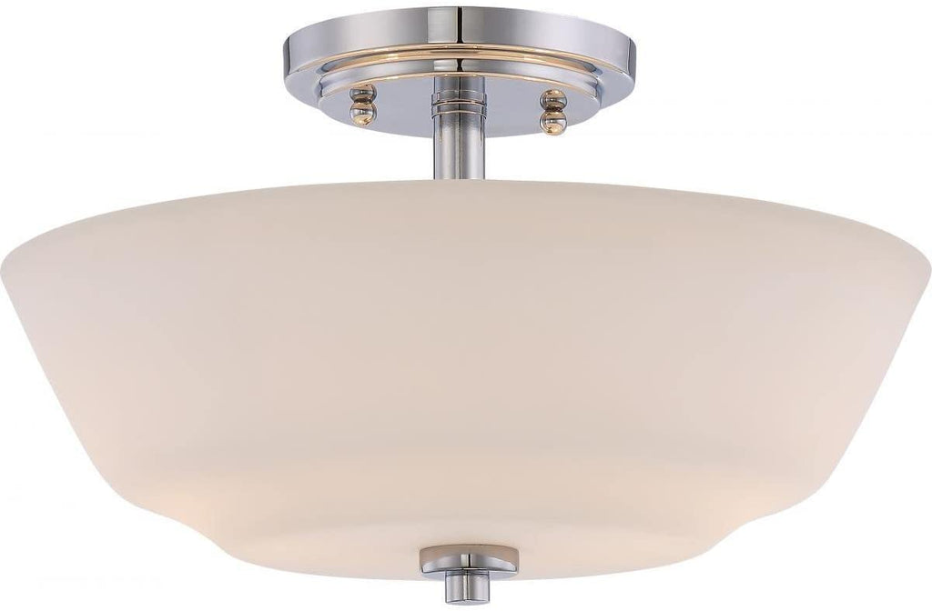 2 Light Semi Flush Fixture White Glass Traditional Steel