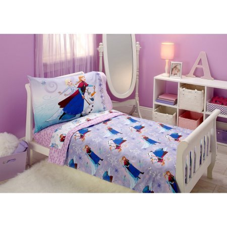 TL 4 Piece Kids Girls Purple Pink Frozen Toddler Bed Set Blue Teal Disney Princess Bedding Anna Elsa Olof Comforter Snow Flake Pattern Sheets Fitted