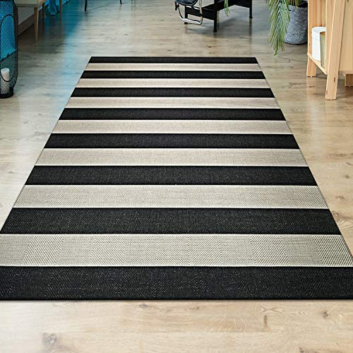 "Striped Black Cream Indoor/Outdoor Runner Rug 2'2"" X 11'9"" Black Cream Ivory Stripe Casual Transitional Rectangle Polypropylene Synthetic Contains"