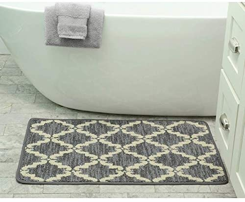 Home Ultra Plush Knitted Cut Pile Polyester Mat Bath Rug 20 X 39 Gray 1'8 2'6 Grey Geometric