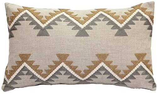 Ranch Embroidered Throw 12x20 Brown Chevron Stripe Modern Contemporary Cotton Polyester One Removable Cover
