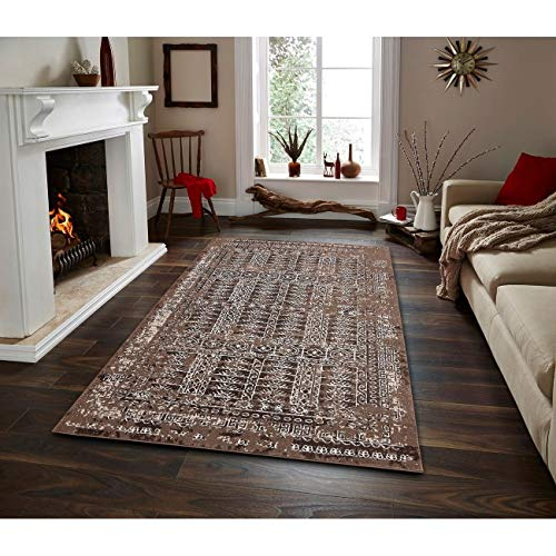 MISC Contemporary Transitional Area Rug 3 Ft 5 3' X 5' Brown Abstract Diamond Polypropylene Latex Free