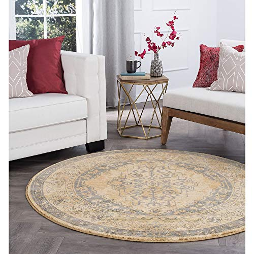 Soho Transitional Border Round Area Rug 5'3 X Brown Solid Country Mission Craftsman Jute Polypropylene Latex Free Pet Friendly Stain Resistant
