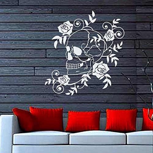 Dangerous Flowers Roses Blossom Art Skull Vinyl Decal Sticker Wall Decor Nursery Room Size 33x33 Color Black Modern Contemporary