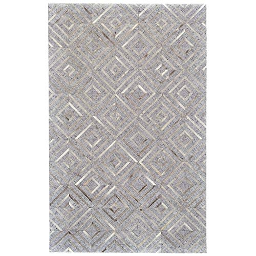 Bisque/Storm Viscose Leather Handmade Area Rug 2' X 3' Brown Grey Geometric Modern Contemporary Latex Free