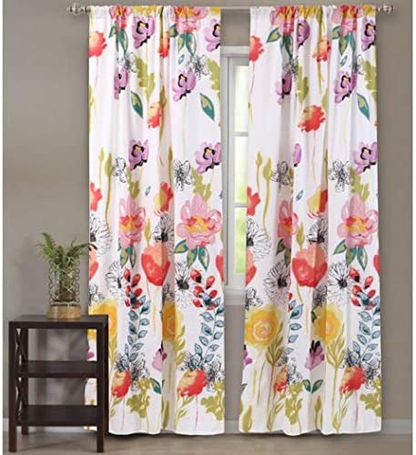 Girls Yellow Pink Stenciled Floral Window Curtain 84 Inch Pair Panel Set Blue Sage Color Abstract Flowers Pattern Lilly Pulitzer Bohemian Window