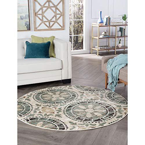 Ivory Transitional Area Rug 5'3 Abstract Graphic Medallion Global Moroccan Round Polypropylene Contains Latex Stain Resistant