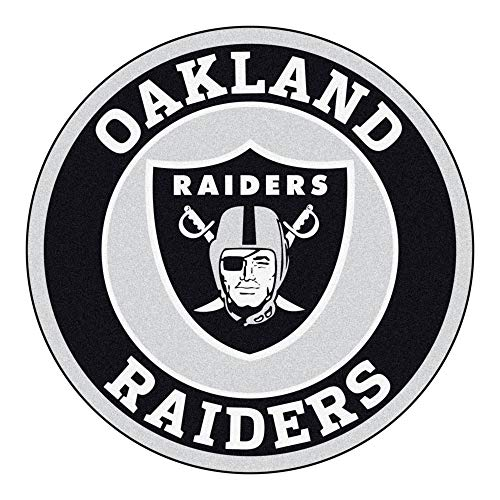 27 Inch NFL Oakland Raiders Mat Team Logo Printed Round Rug Sports Football Themed Floor Mats Carpet Home Office Bedroom Bath Area Rug Team Spirit Fan