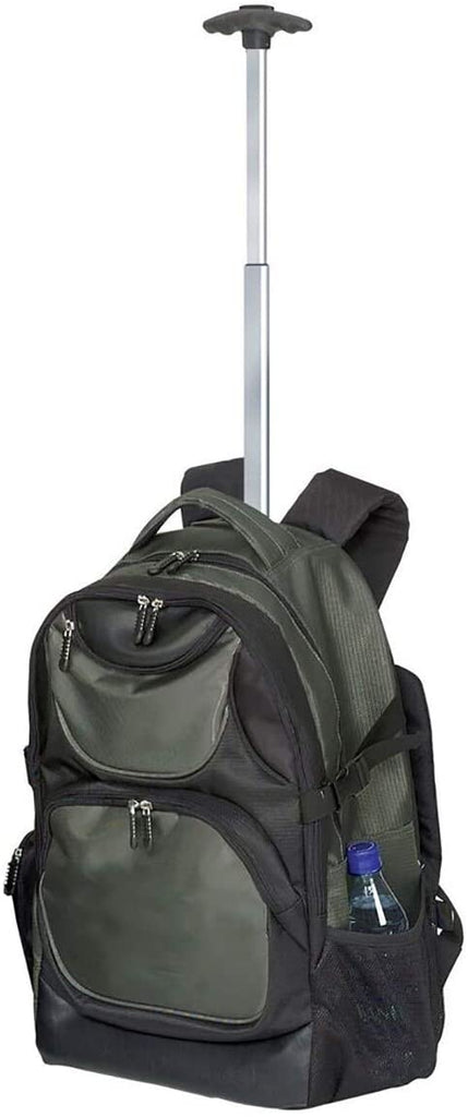 Olive Green Rolling 15 inch Laptop Backpack Solid Mesh Nylon Compartment Compartment