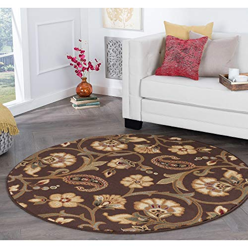 Rhythm Transitional Floral Round Area Rug 5'3 X Brown Paisley Scroll Colonial Country Jute Polypropylene Latex Free Pet Friendly Stain Resistant