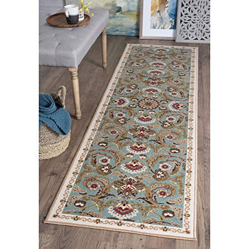 Transitional Floral Runner Rug 2'3 X 11' Green Botanical Country Nylon Rubber Contains Latex Non Slip