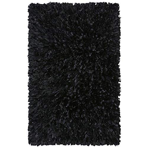 "Black Shimmer Shag Rug 2'6"" X 3' Abstract Rectangle Polyester Latex Free Handmade Stain Resistant"