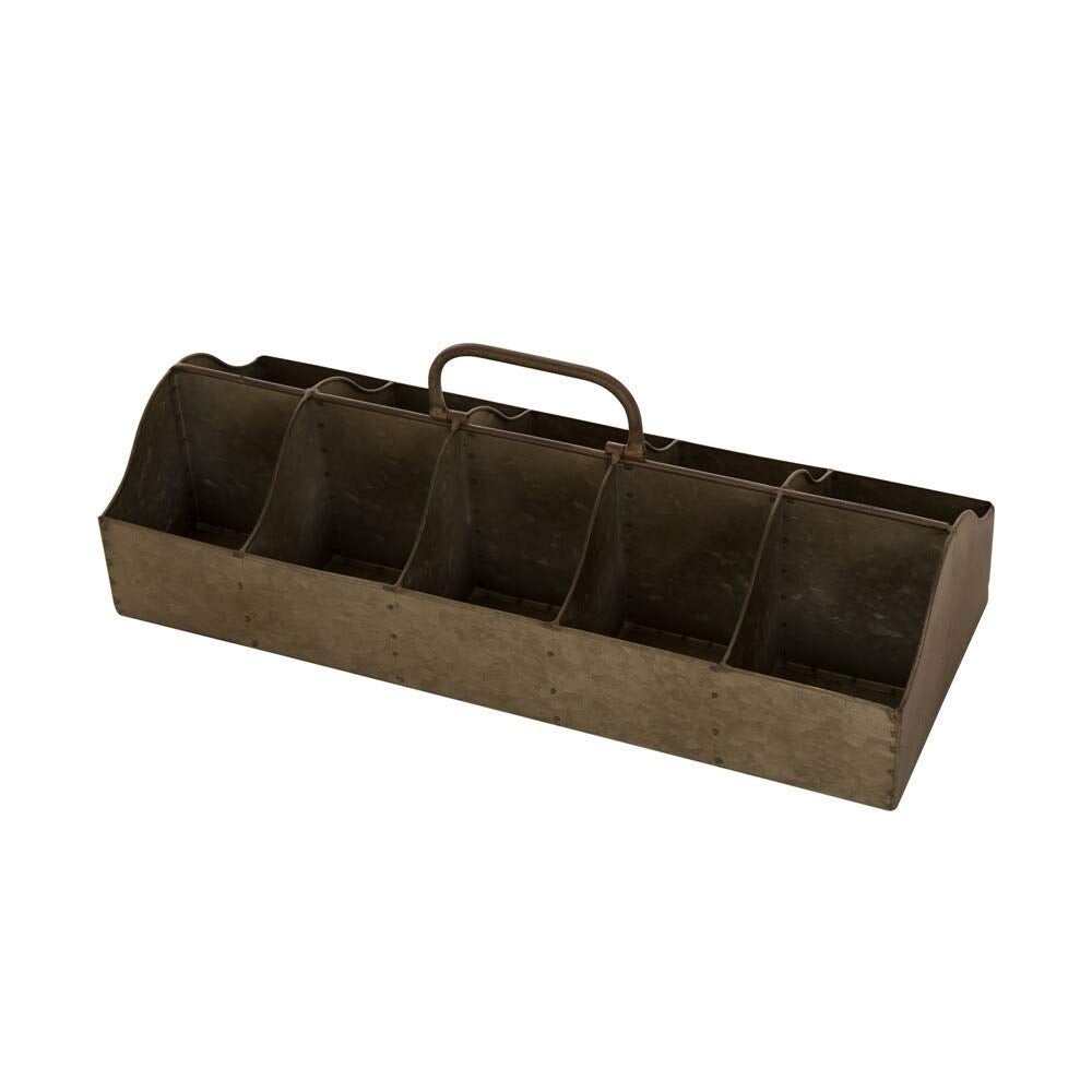 Farmhouse Galvanized Trough Rectangular Planter Organizer Antique Caddy Vintage Rustic Barn Home Holds 10 Plants Small Metal Iron 20""