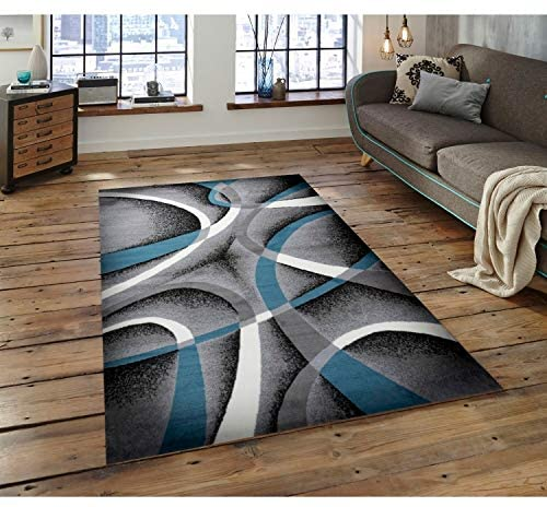 MISC Gray Blue Area Rug 5 Ft 7 5' X 7' Blue Grey Abstract Novelty Polypropylene Latex Free