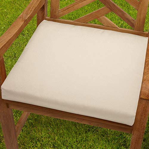 20 inch Indoor/Outdoor Beige Chair Cushion Fabric White Solid Traditional Transitional Fade Resistant Uv Water