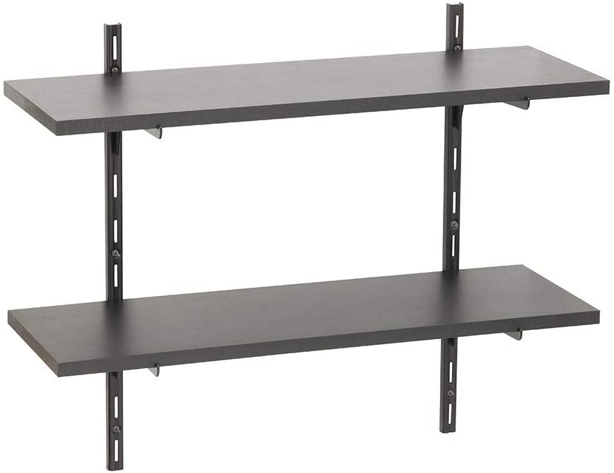 Black 8x24 2 Shelf Kit White Metal Wood