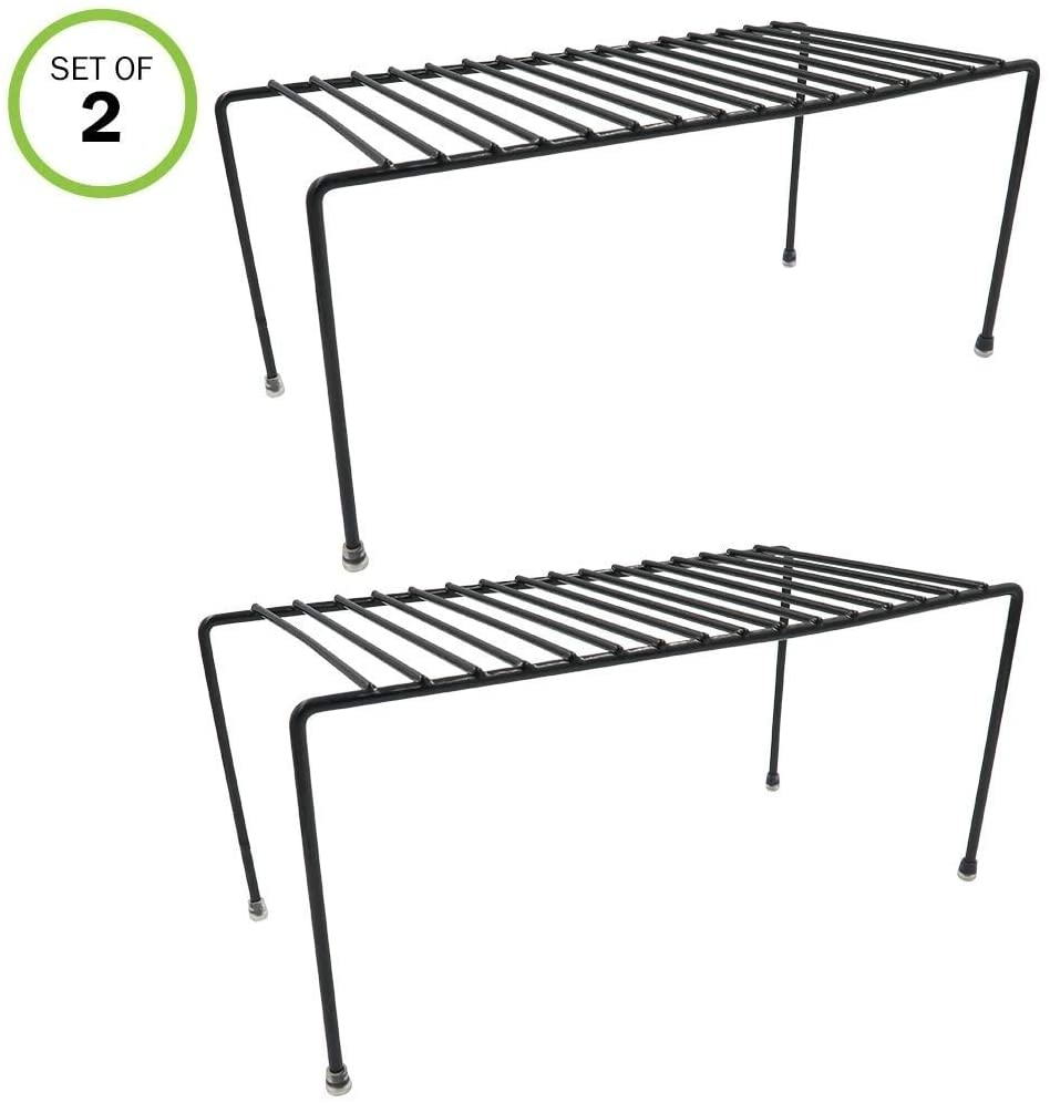 MISC Kitchen Cabinet/Counter Shelf Organizer Double Space Sturdy Metal Set/2 Black Stainless Steel