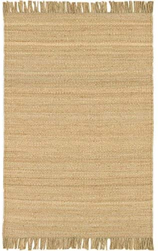 "MISC Hand Woven Natural Fiber Jute Area Rug 4' X 5'9"" Brown Stripe Casual Farmhouse Latex Free Handmade"