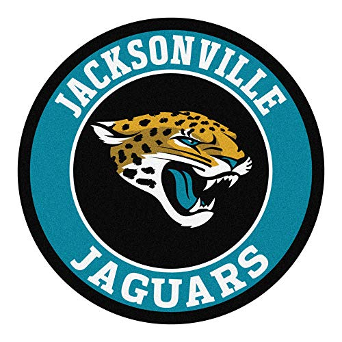 27 Inch NFL Jacksonville Jaguars Mat Team Logo Printed Round Rug Sports Football Themed Floor Mats Carpet Home Office Bedroom Bath Area Rug Team
